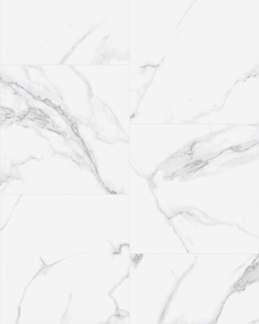 A top view pattern of our Calacatta Pulido 24 x 24 Rectified Porcelain Tile