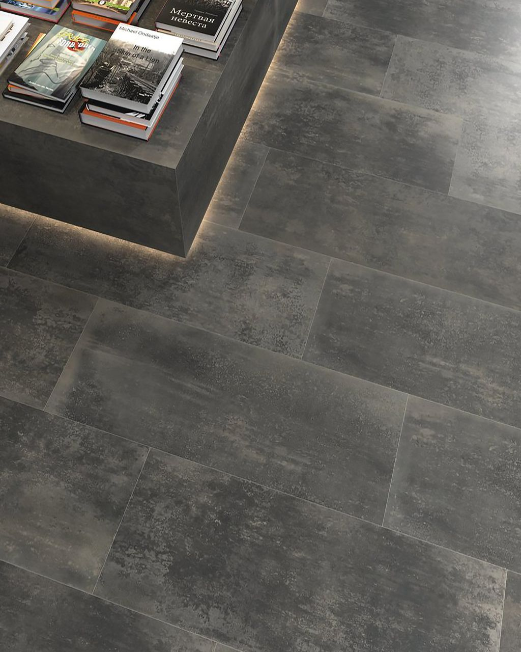 A detailed shot of our Planet Acero 18 x 47 Porcelain Tile