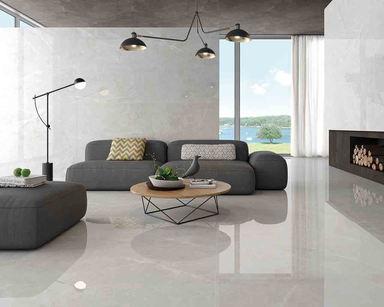 A beautiful living room floor featuring our Crepuscolo Pearl 24 x 48 Porcelain Tile
